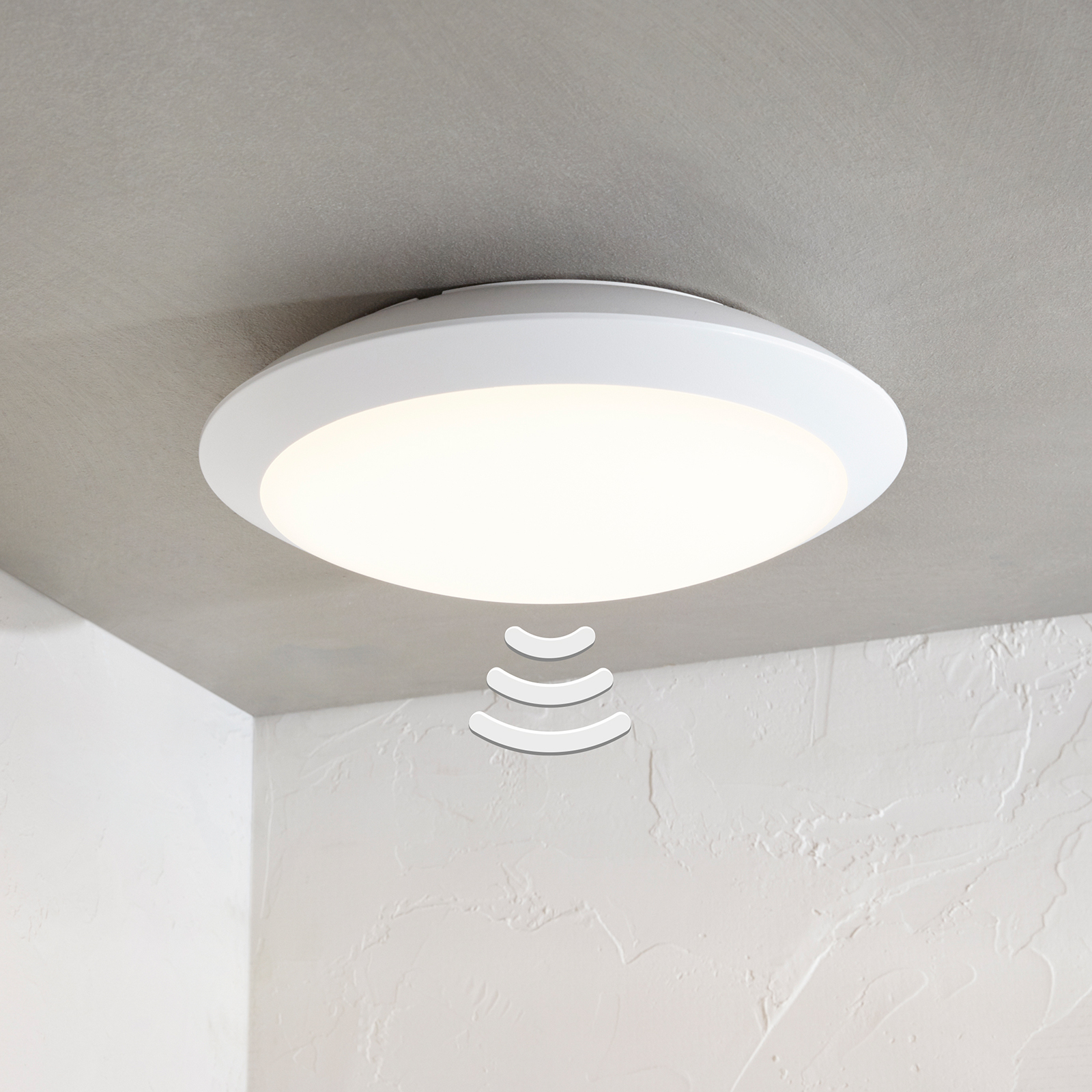 Naira LED outdoor ceiling lamp, white, with sensor_9949021_1