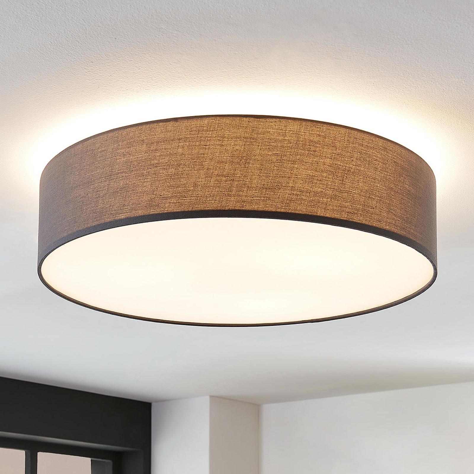 Stoff-Deckenlampe Gordana in Grau, 57 cm