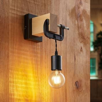 Lindby Asya wandlamp, hout, zwart