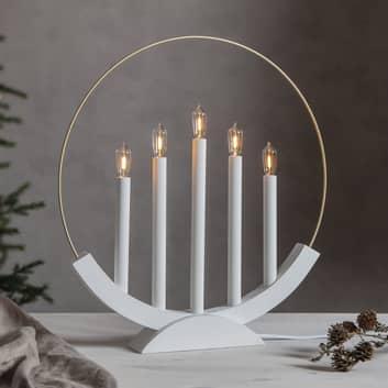 LED-kynttelikkö Brace 5-lamppuinen valkoinen/kulta