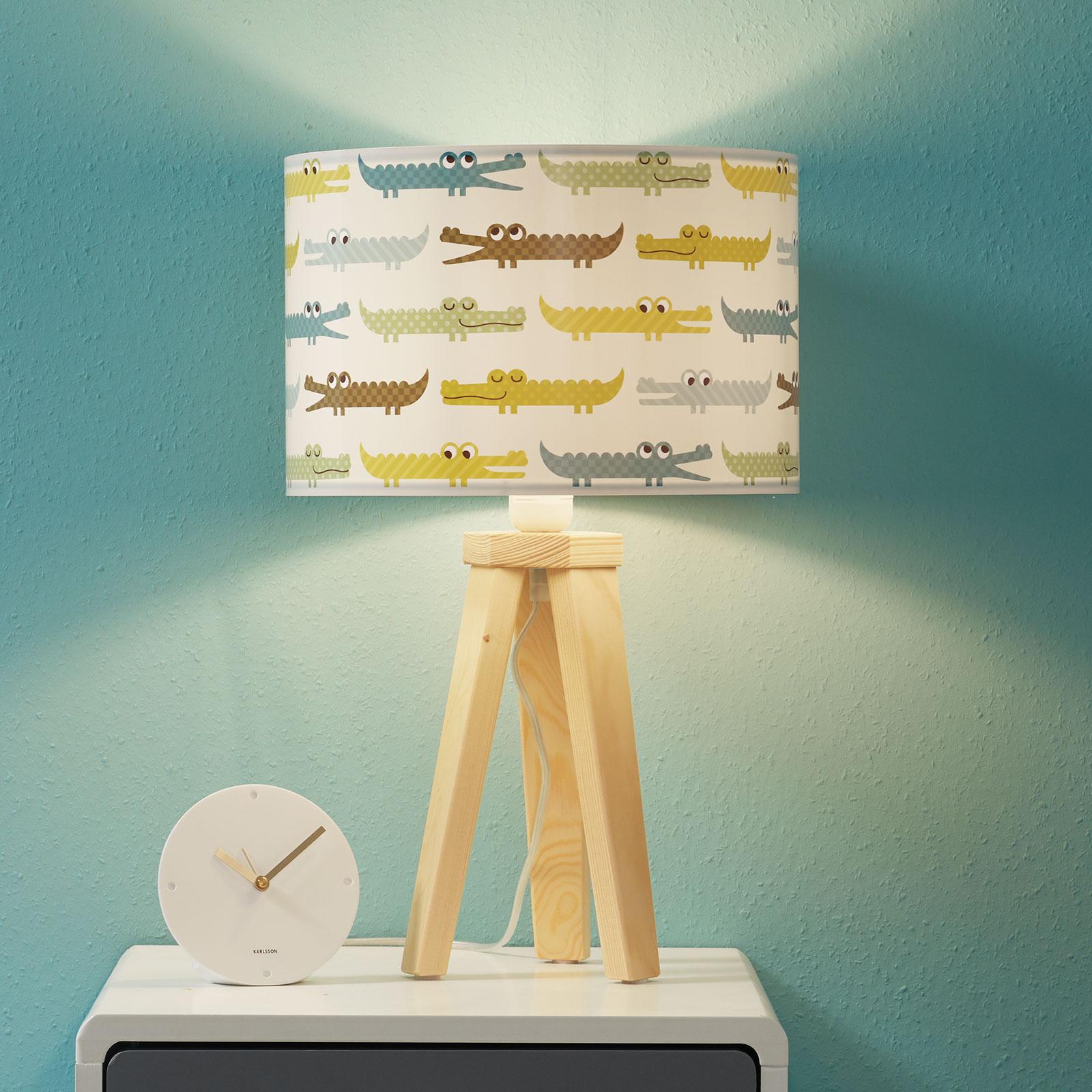 Lampe à poser pour enfant Croco colorée avec bois