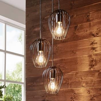 Hanglamp Newtown, zwart, 3-lamps, rond