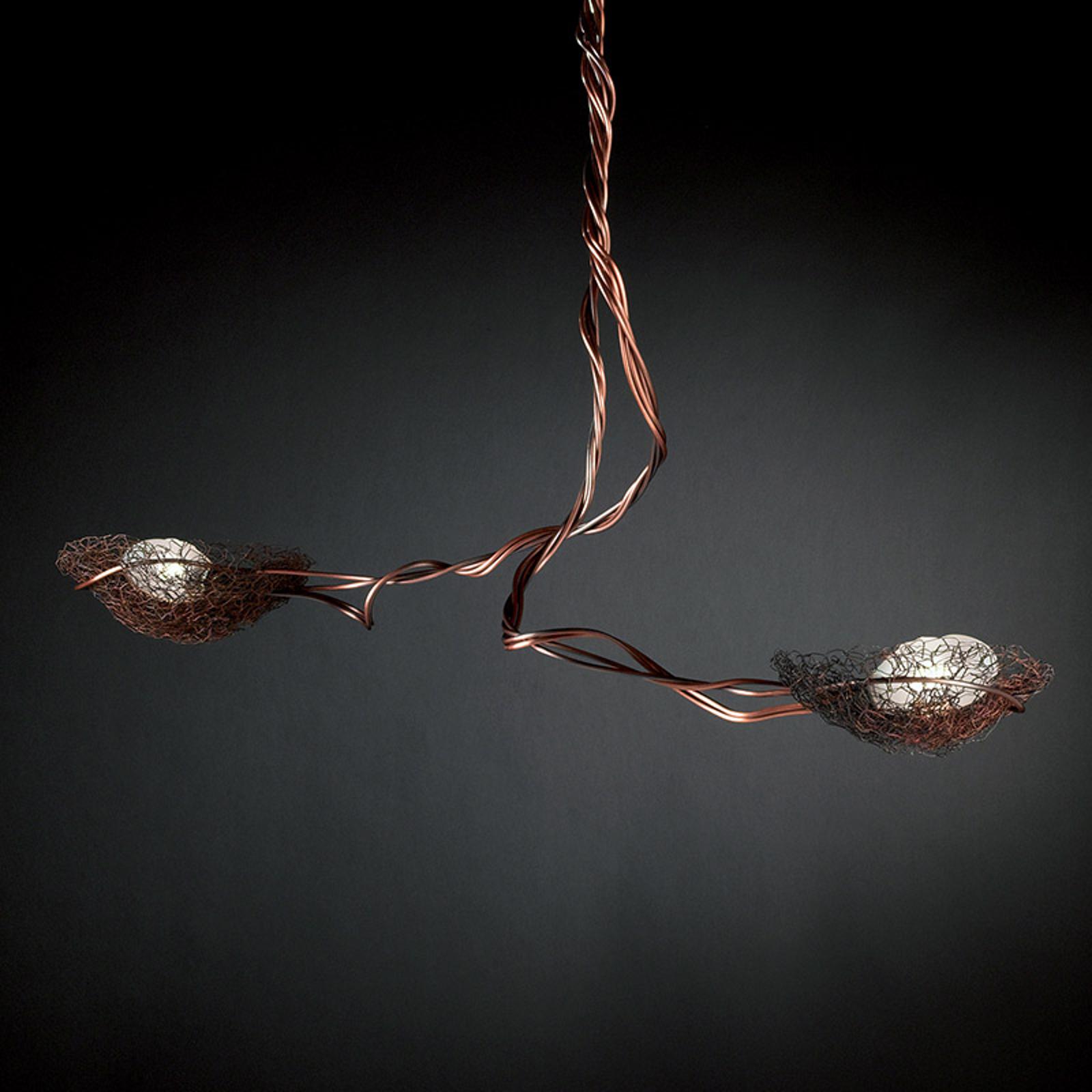 2-punktowa lampa wisząca NIDO, miedziana
