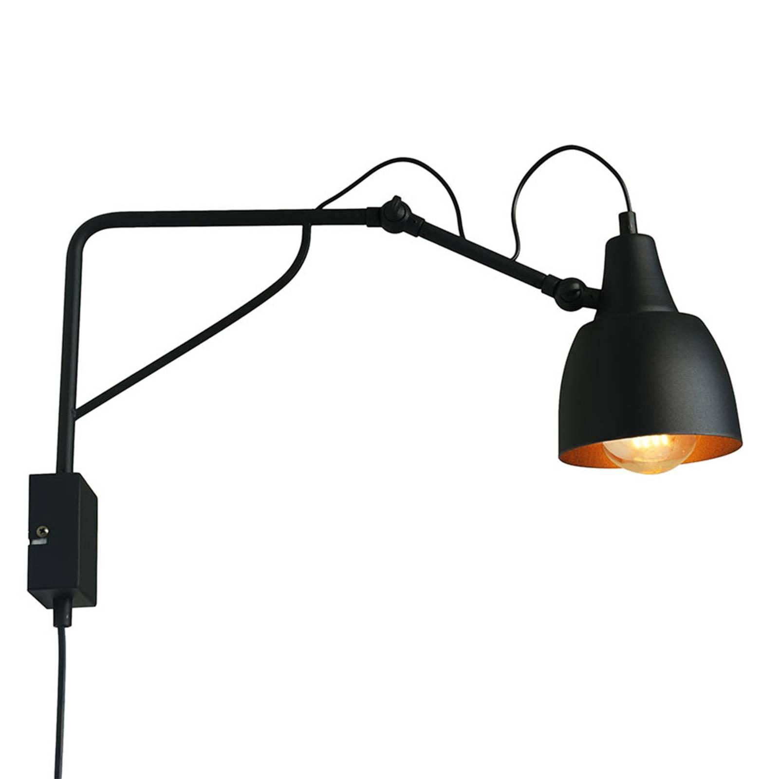 Bilde av 1002 Vegglampe Med Plugg, 1 Lyskilde, Svart