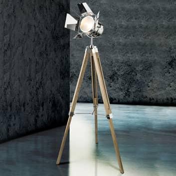 Dřevěná stojací lampa Evy s reflektorem, chrom