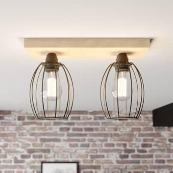 Lámpara de techo Beevly, madera y metal, 2 luces
