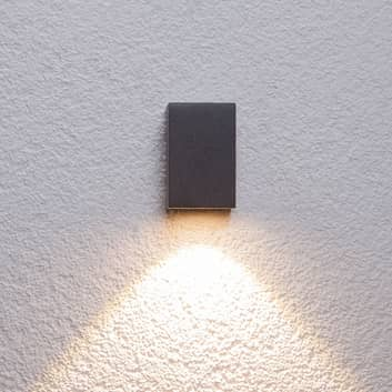 Grafitgrå LED-utomhusvägglampa Tavi, höjd 9,5 cm