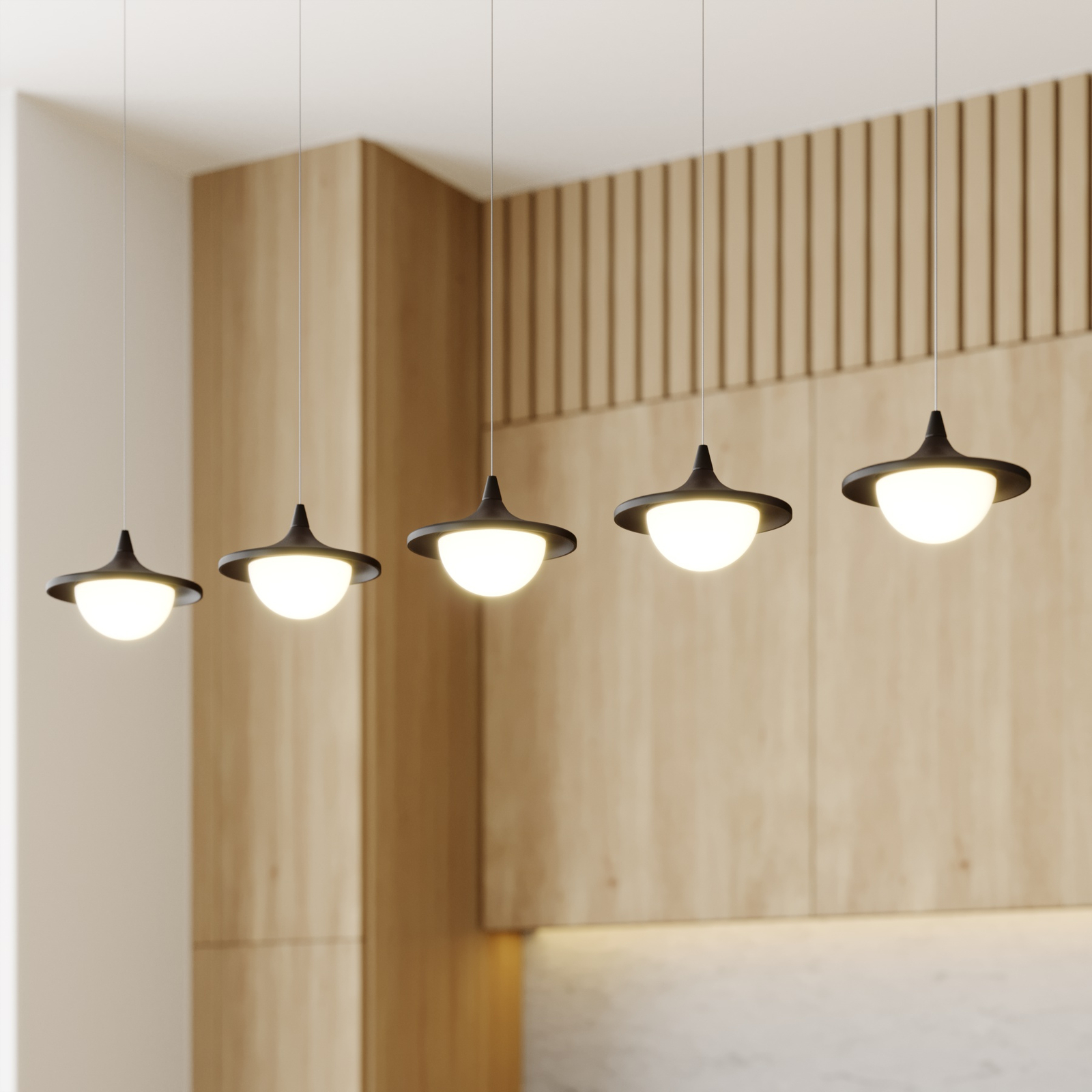Lucande Tamsi suspension LED à 5 lampes, dimmable