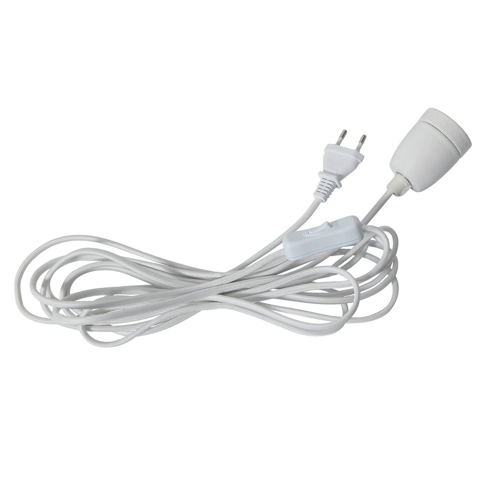 Douille E27 Glaze avec câble, blanc