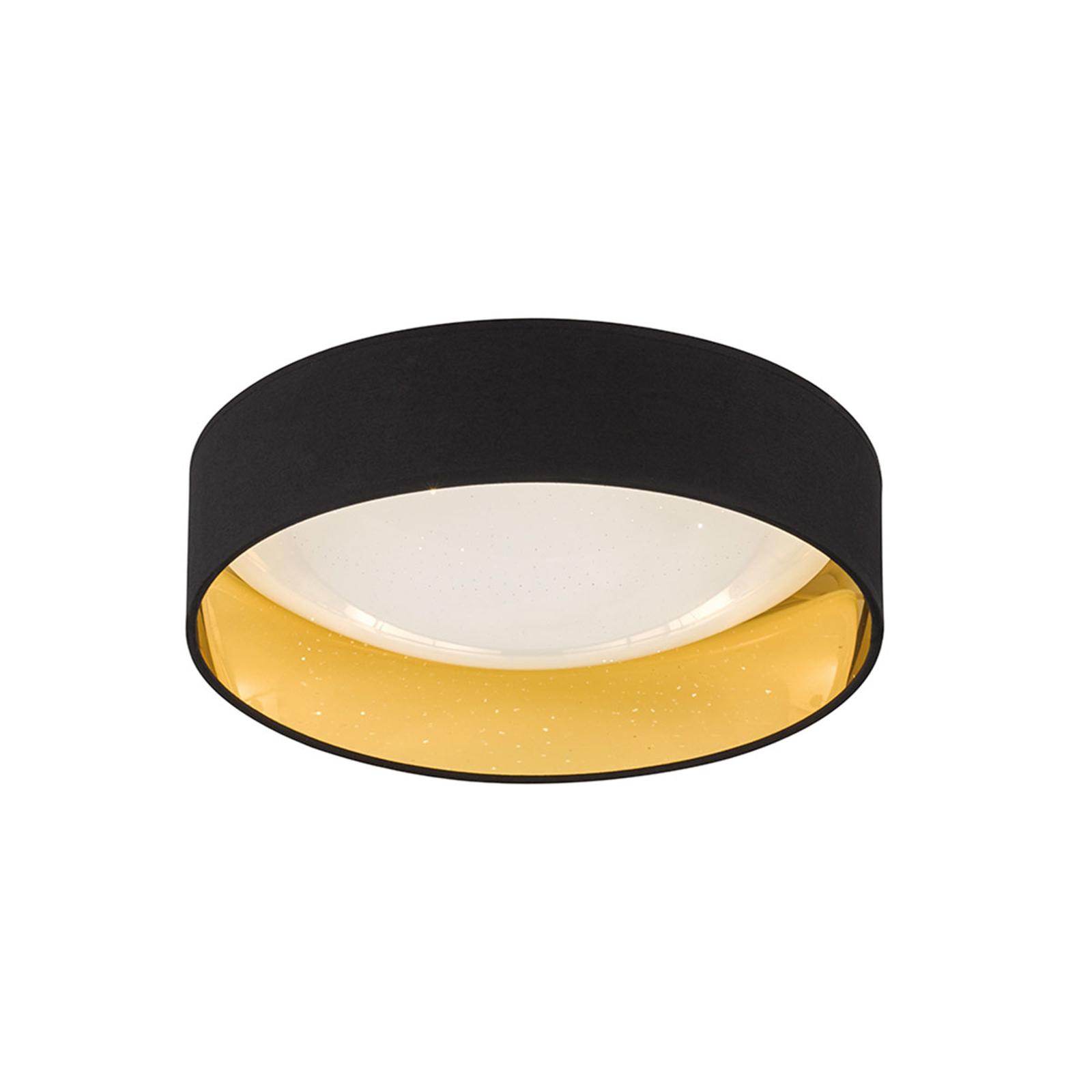 Svart, gyllen LED-taklampe Sete Ø 40 cm