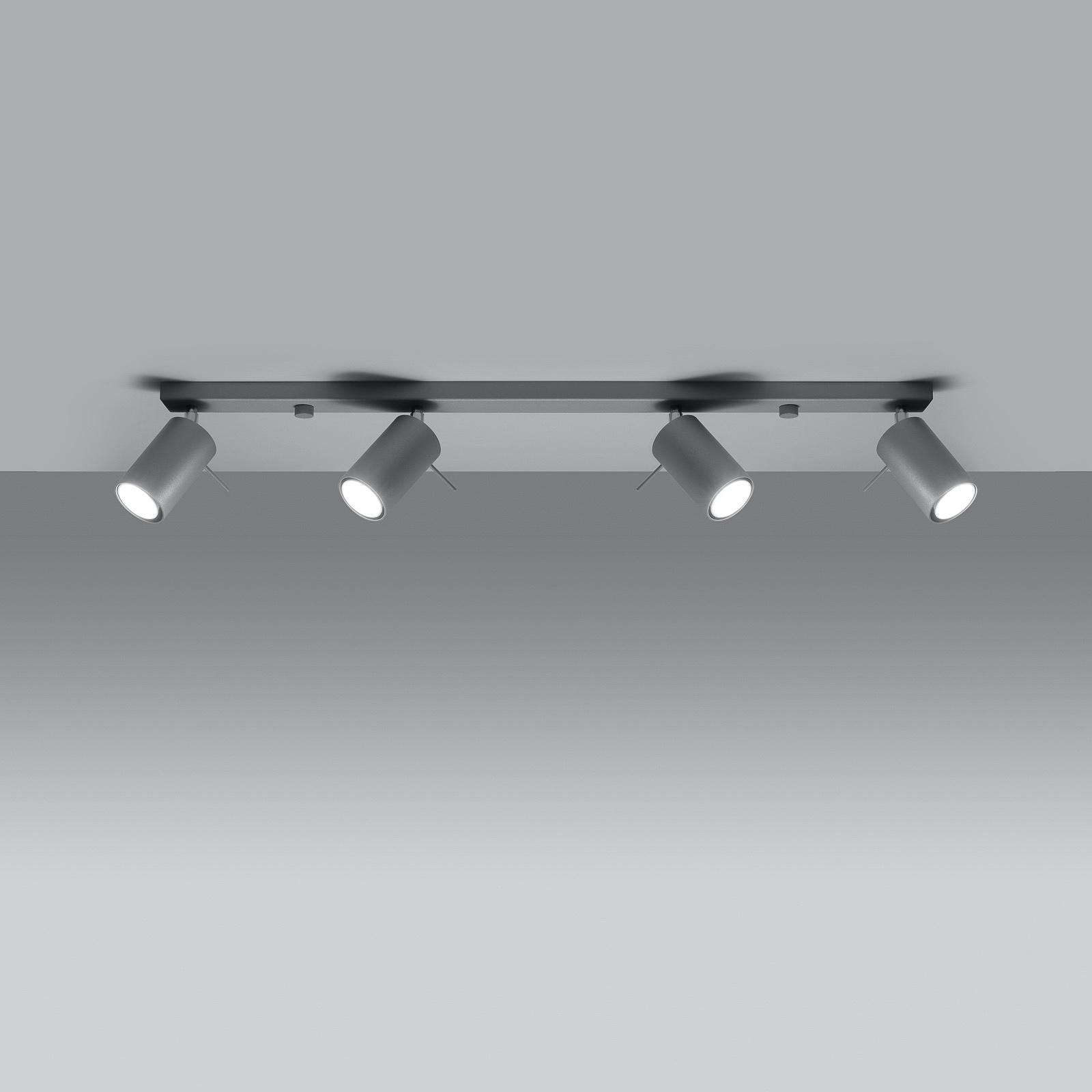 Deckenstrahler Round, grau, vierflammig linear