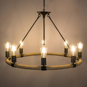 Rund LED-taklampa Ulleu med hamparep 8 lampor