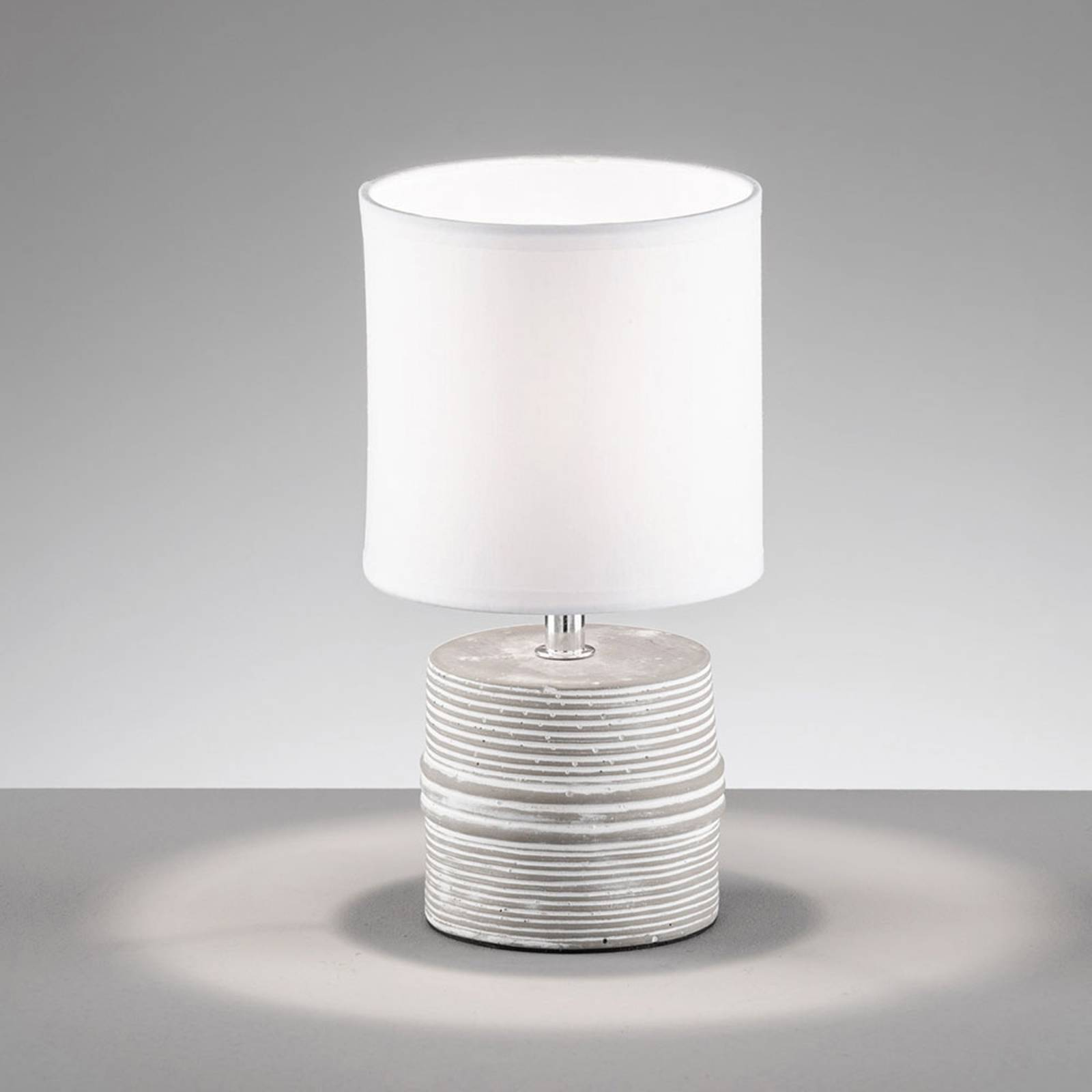 Pilot bordlampe med stofskærm og keramisk fod