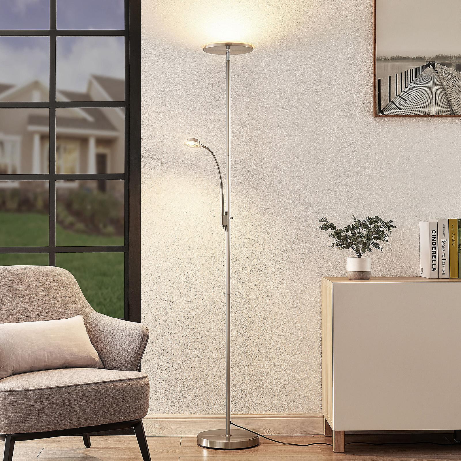 Lindby Kavi lampa stojąca LED z lampką, okrągła