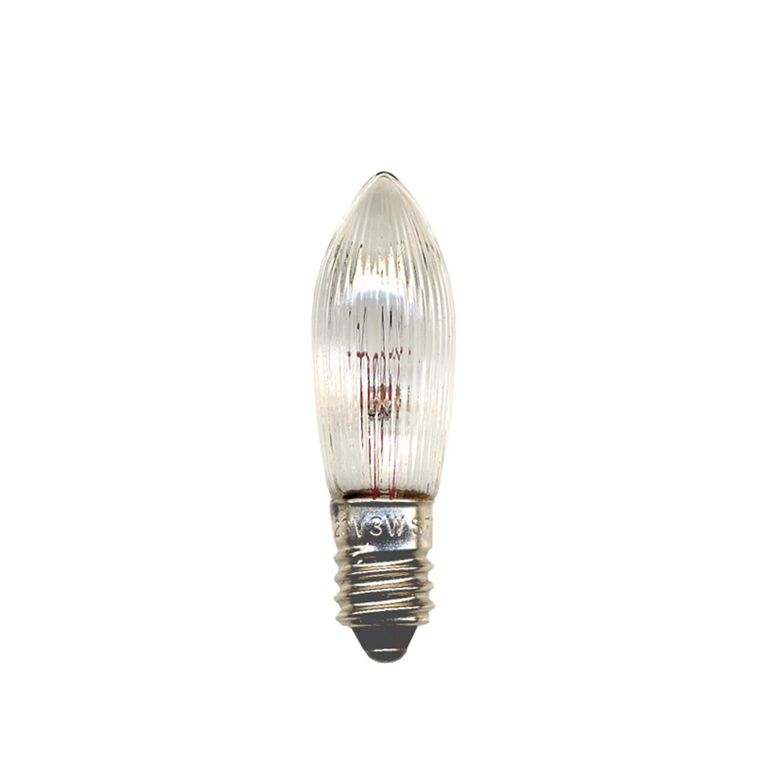 E10 2,4W 12V -vaihtolamppu, kynttilä 3 kpl/pakkaus