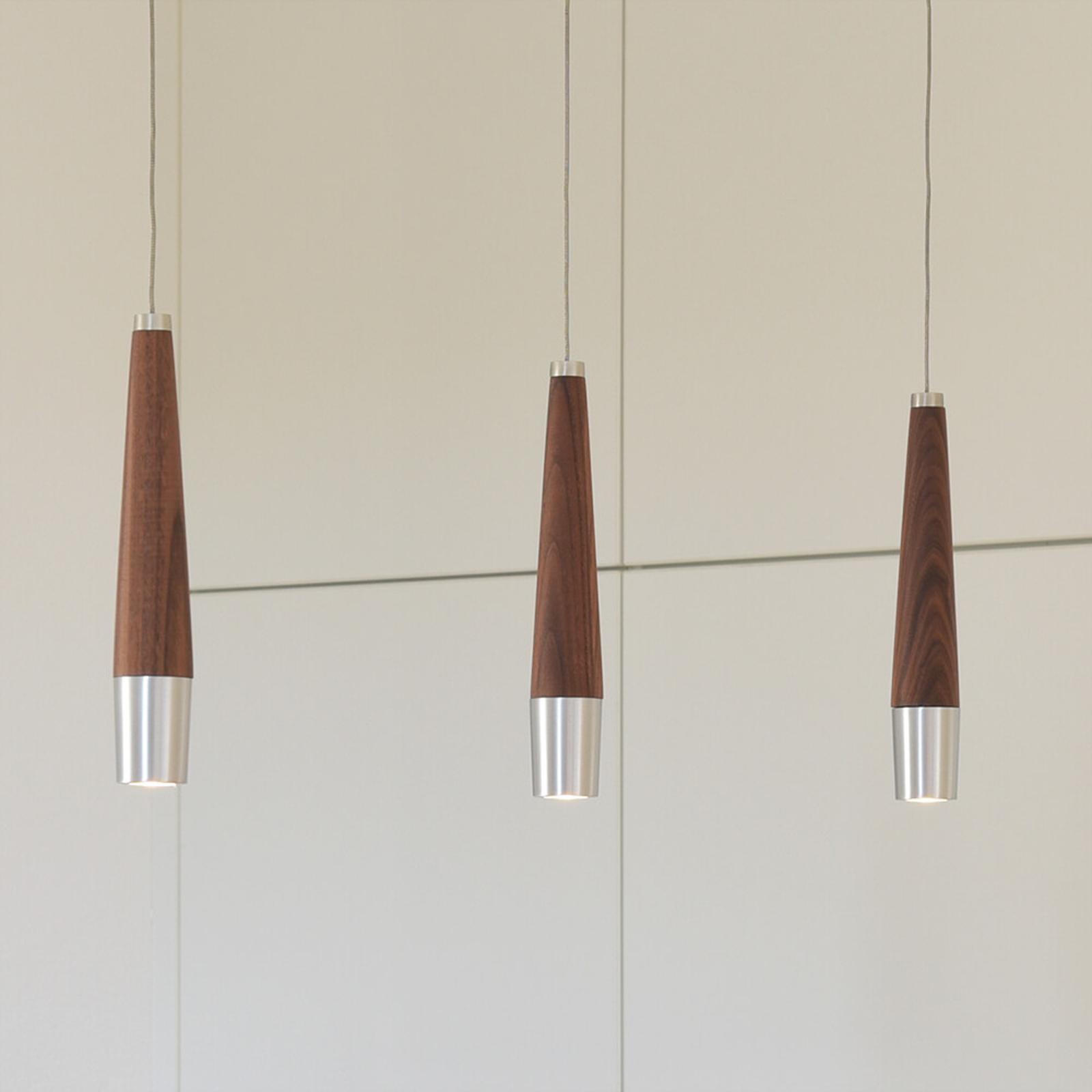 HerzBlut Conico LED-hengelampe valnøtt 3 lyskilde