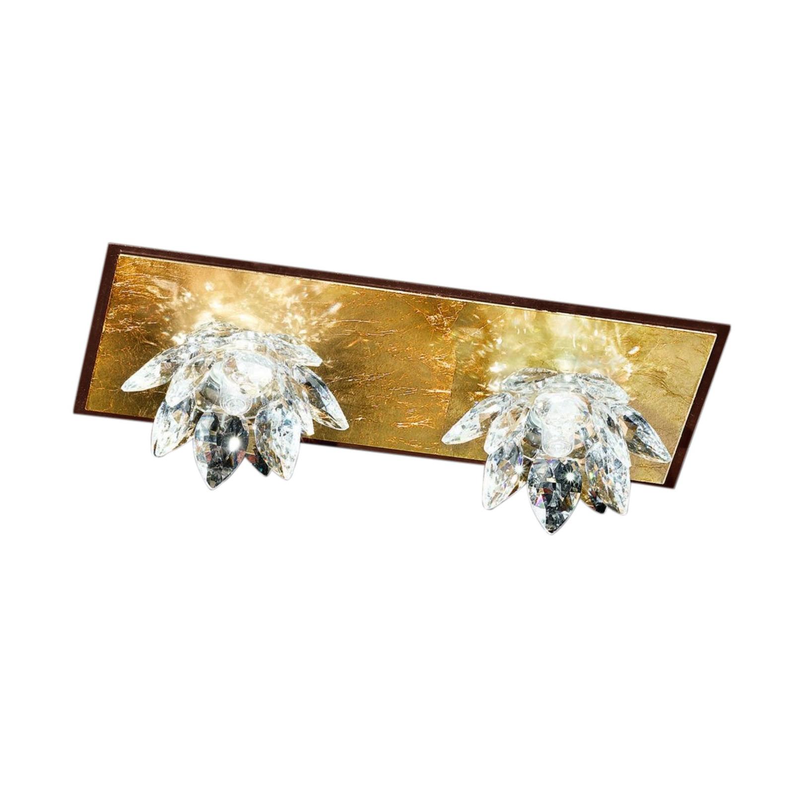 Acquista Plafoniera Fiore con oro in foglia e cristallo