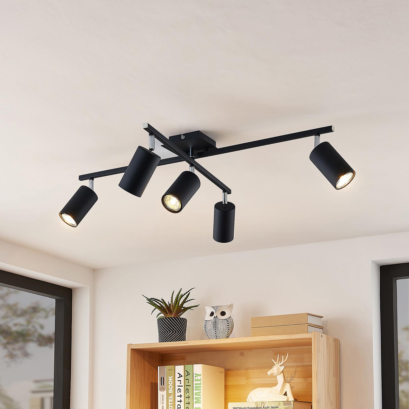 Lindby Ebardo plafondlamp, 5-lamps, zwart
