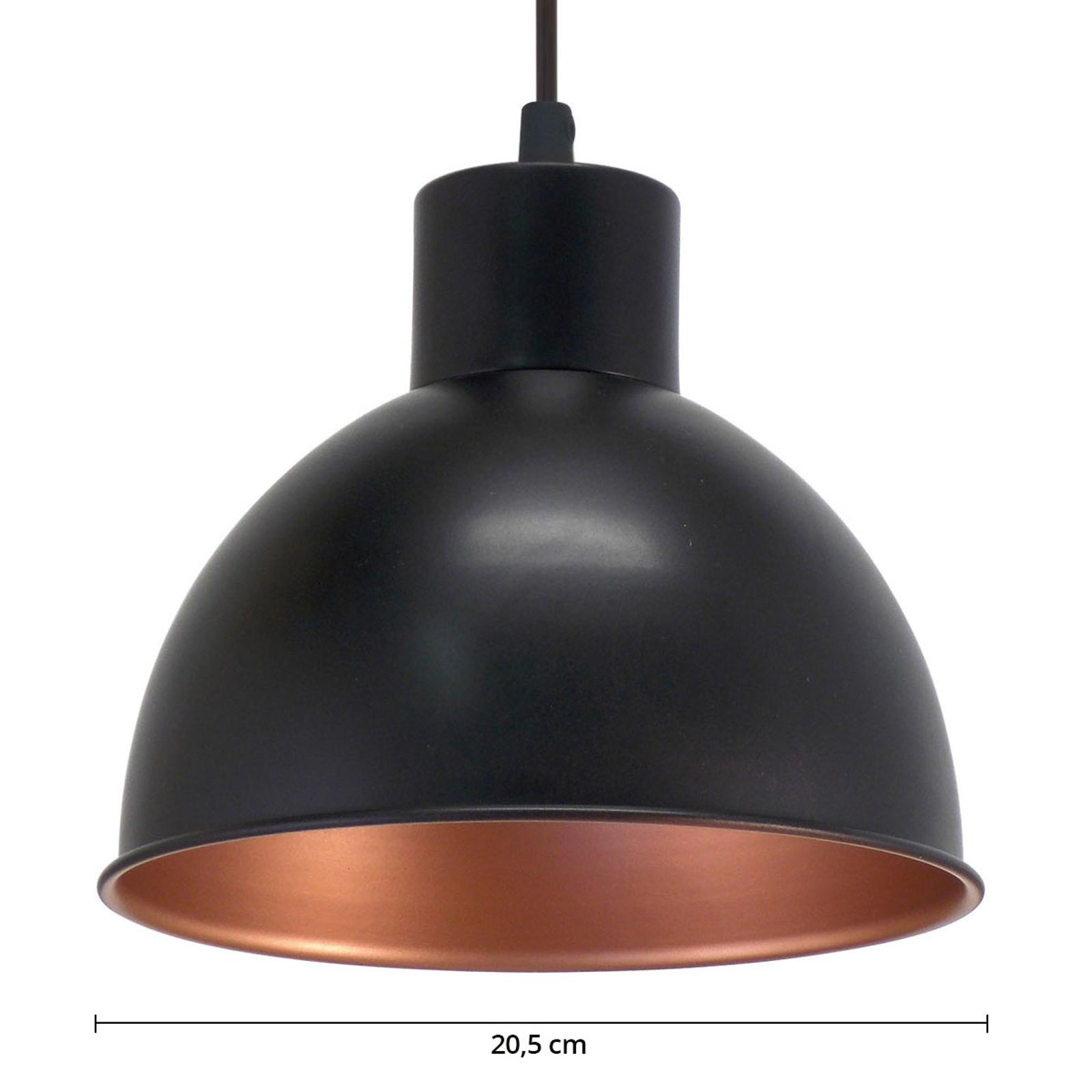 Czarna lampa wisząca ANDRIN - miedziane wnętrze