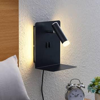 Lucande Zavi LED-väggspot med hylla, USB, svart