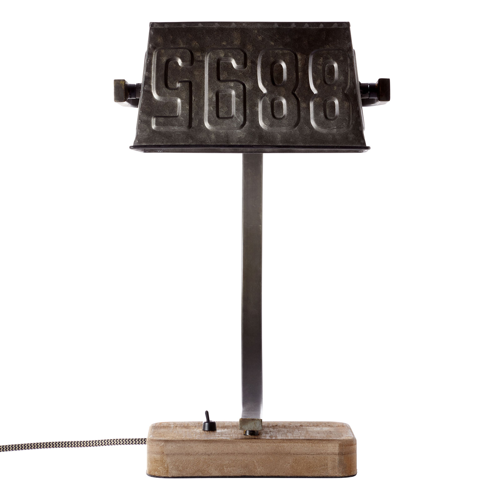 Metall Tischleuchte Drake mit Holzfuß
