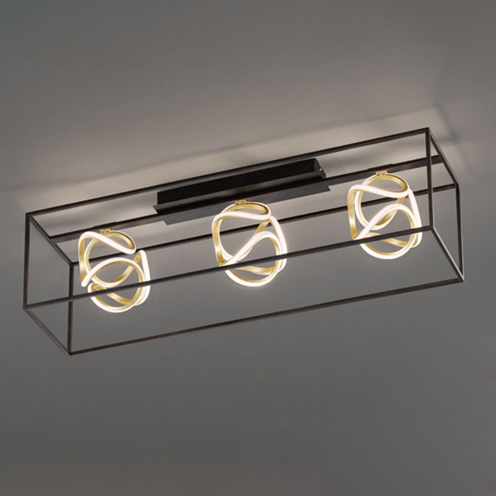 LED-Deckenleuchte Gesa mit Metallkäfig