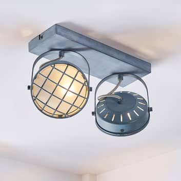 Kaksilamppuinen LED-kattolamppu Tamin, savunharmaa