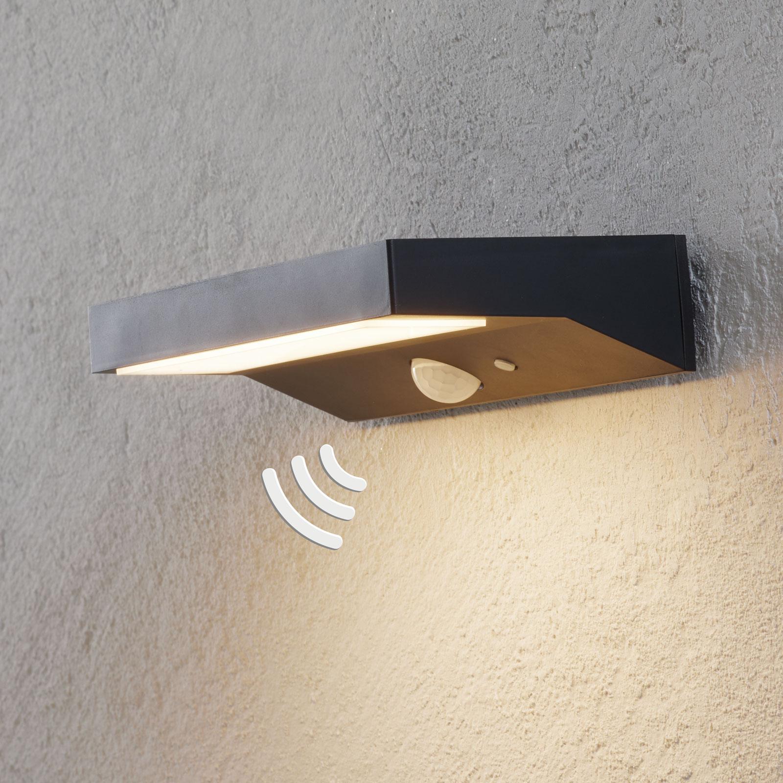 LED-solcellsutomhusvägglampa Maresia med sensor