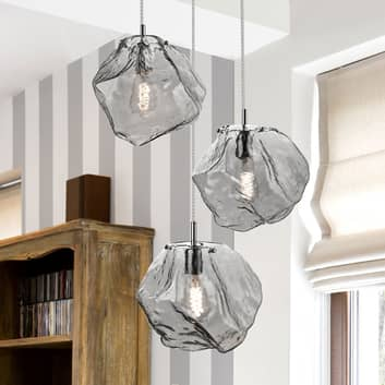 Petra LED-hængelampe af glas, 3 lyskilder, rund
