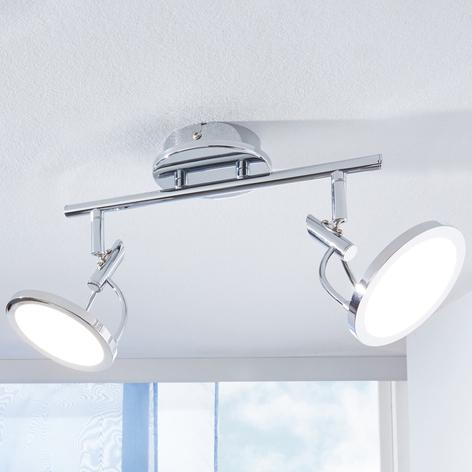 LED-Deckenspot Jorne, verchromt, 2-flammig