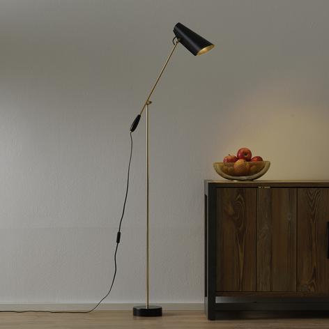 Lámpara de pie retro Birdy en negro/latón