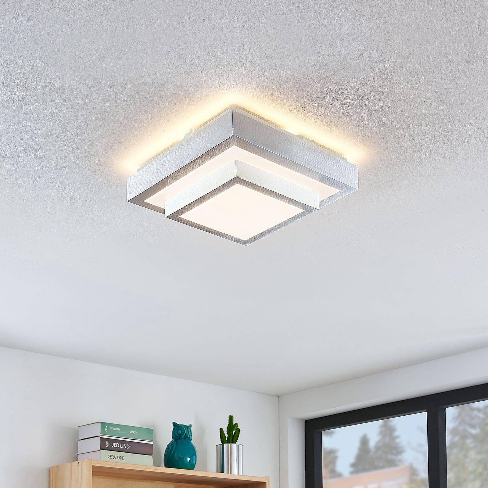 Lindby Mirco LED-Alu-Deckenlampe, eckig, 27 cm