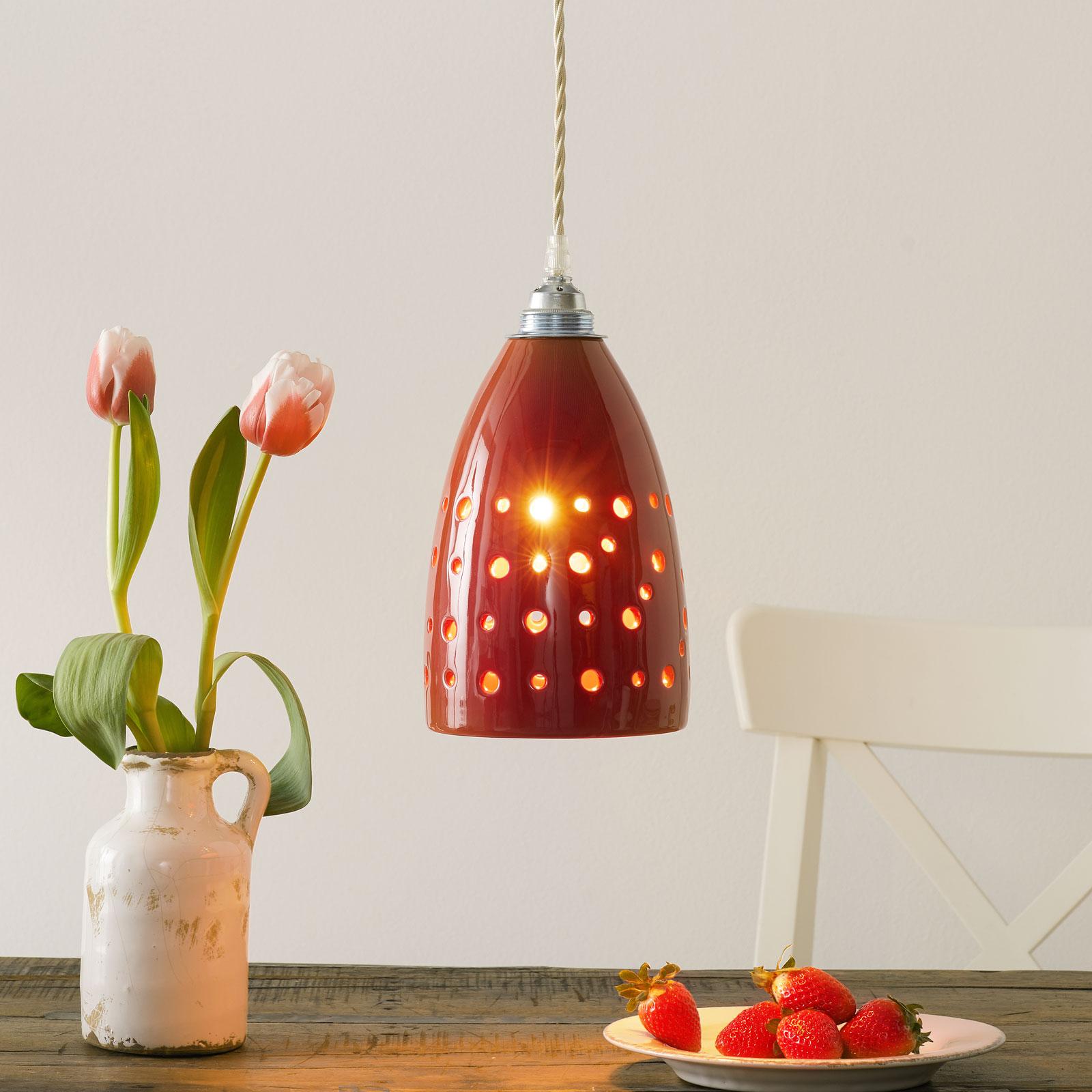 Ceramiczna lampa wisząca S1815 czerwona