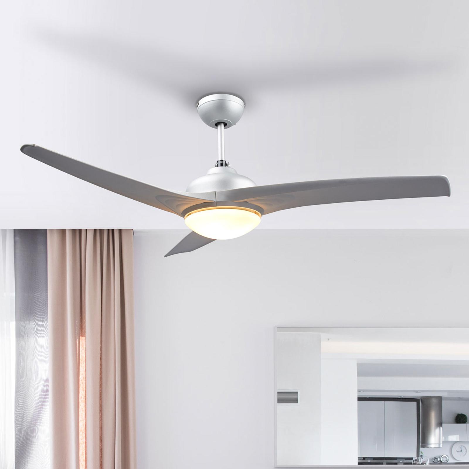 Ventilador de techo Emanuel plateado, con luz