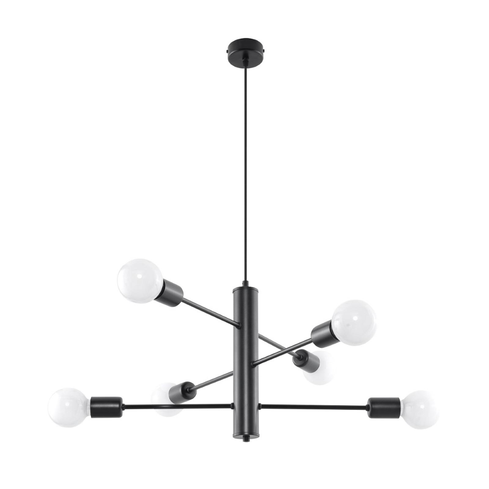 Suspension Tunar, à 6 lampes, noire