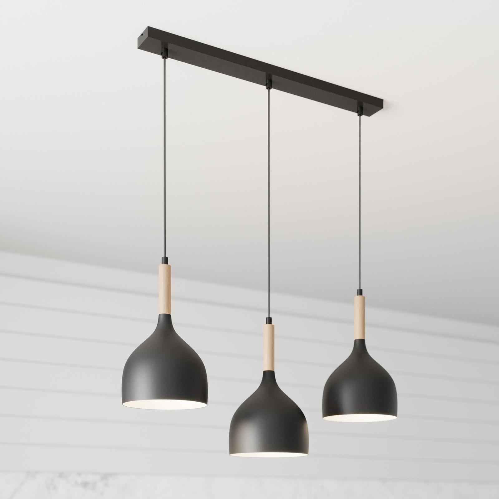 Suspension Noak 3 lampes linéaire noire/bois