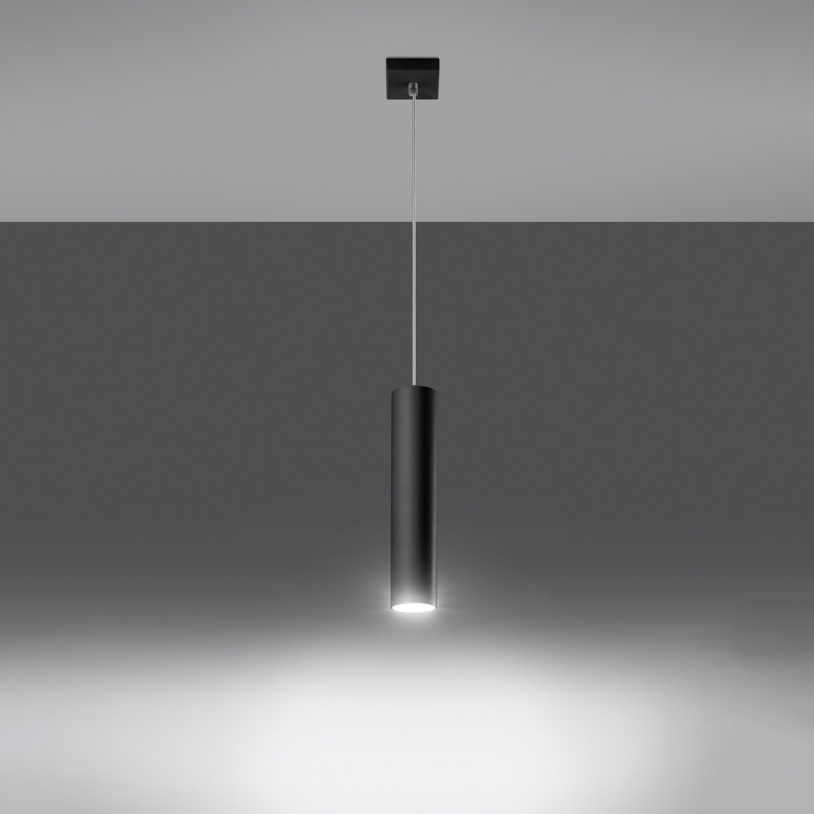 Lampa wisząca Tube, czarna, 1-punktowa