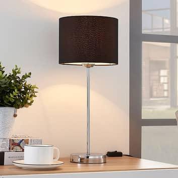 Annatina - bordlampe med sort tekstilskærm
