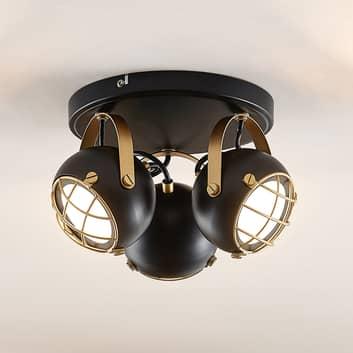 Lindby Dawid LED stropní světlo, zlatá, 3 zdroje