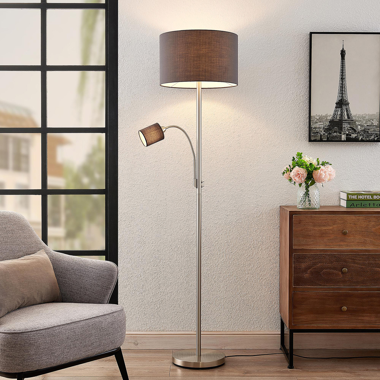 Lindby Jaileen lampa stojąca, szary