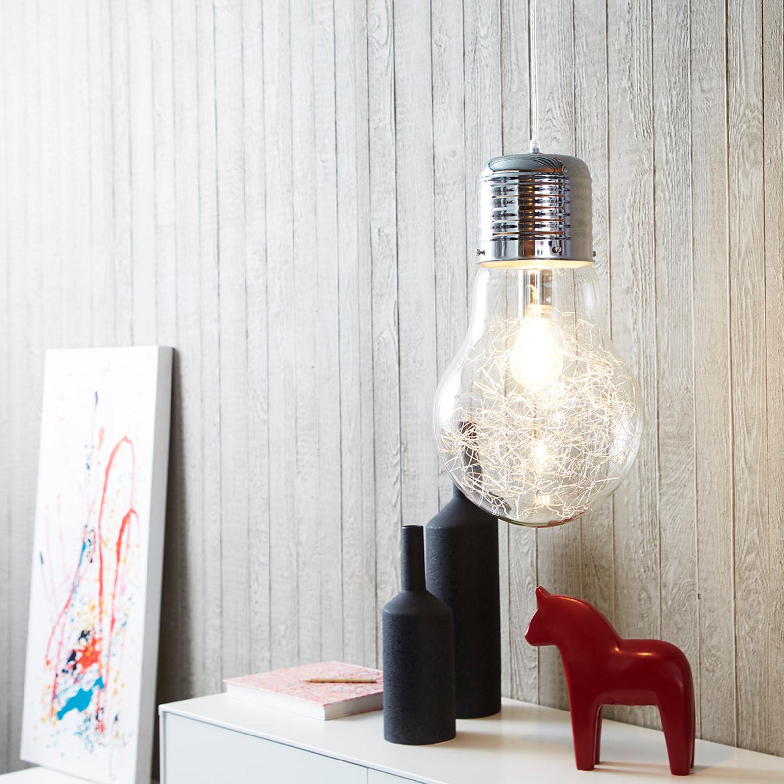 Mieniąca się szklana lampa wisząca Bulb, chrom