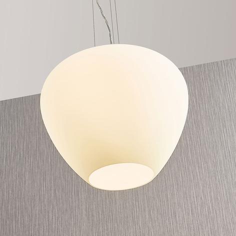 Lampada a sospensione Bibiane, vetro bianco opale