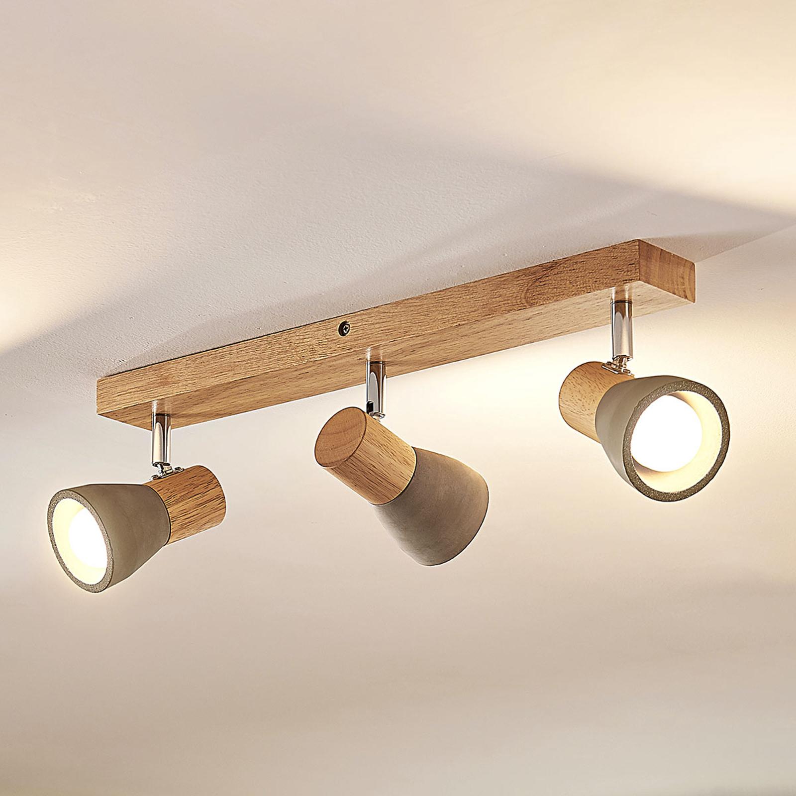 LED-Strahler Filiz aus Holz und Beton, 3-fl., lang