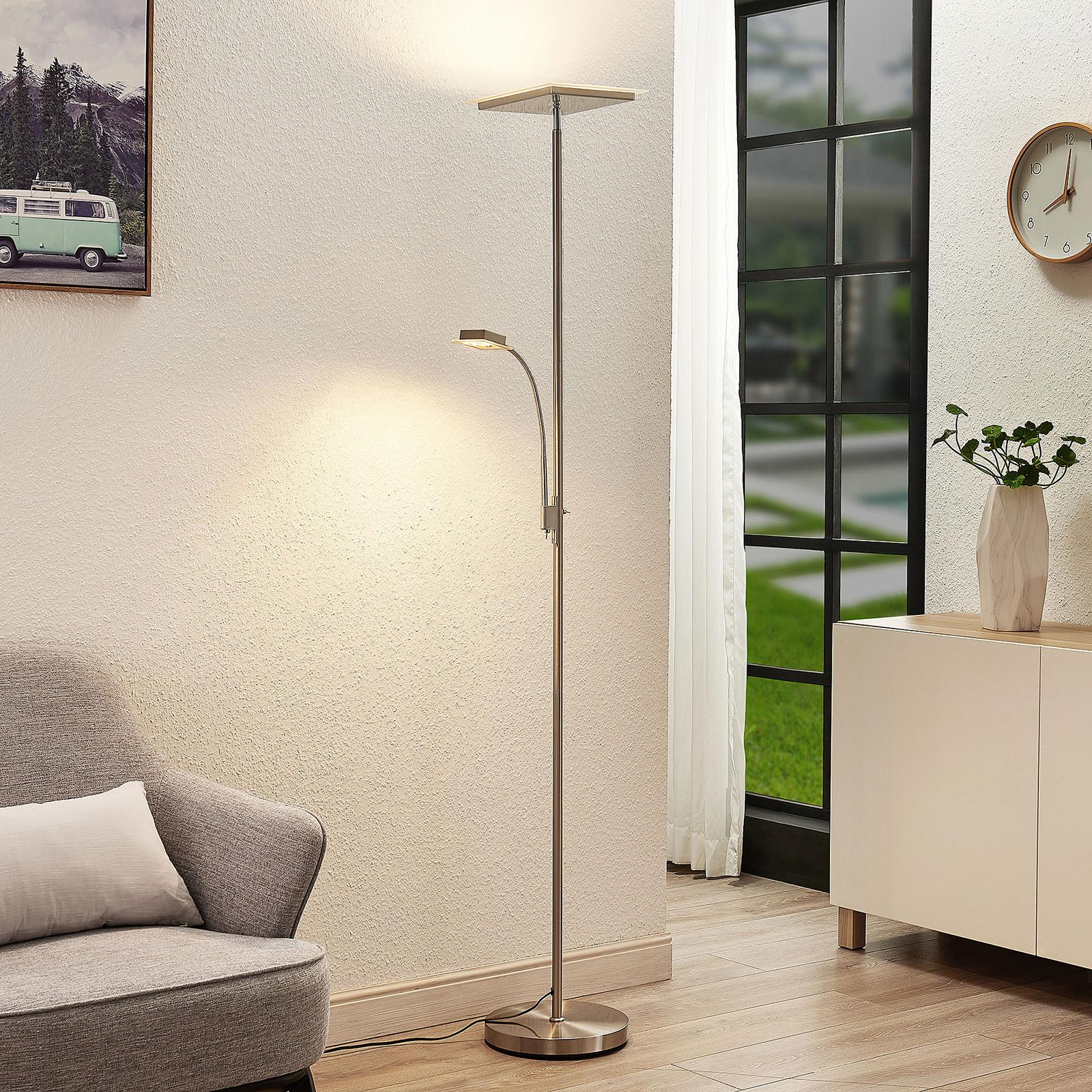 Lindby Kavi LED da terra, luce lettura, angolare