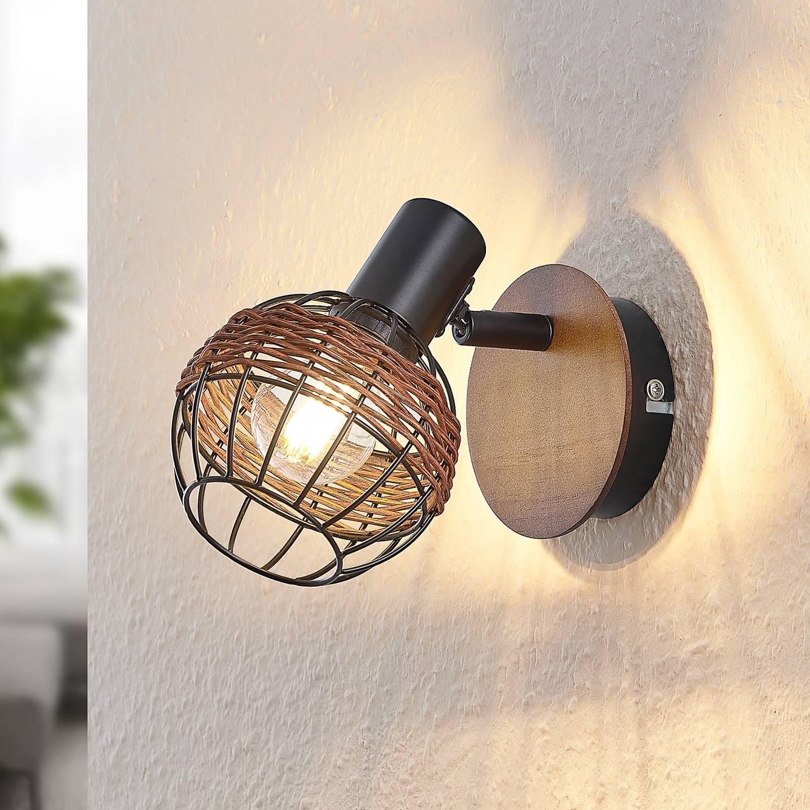Lindby Nermina rattan spotlight, cage, one-bulb