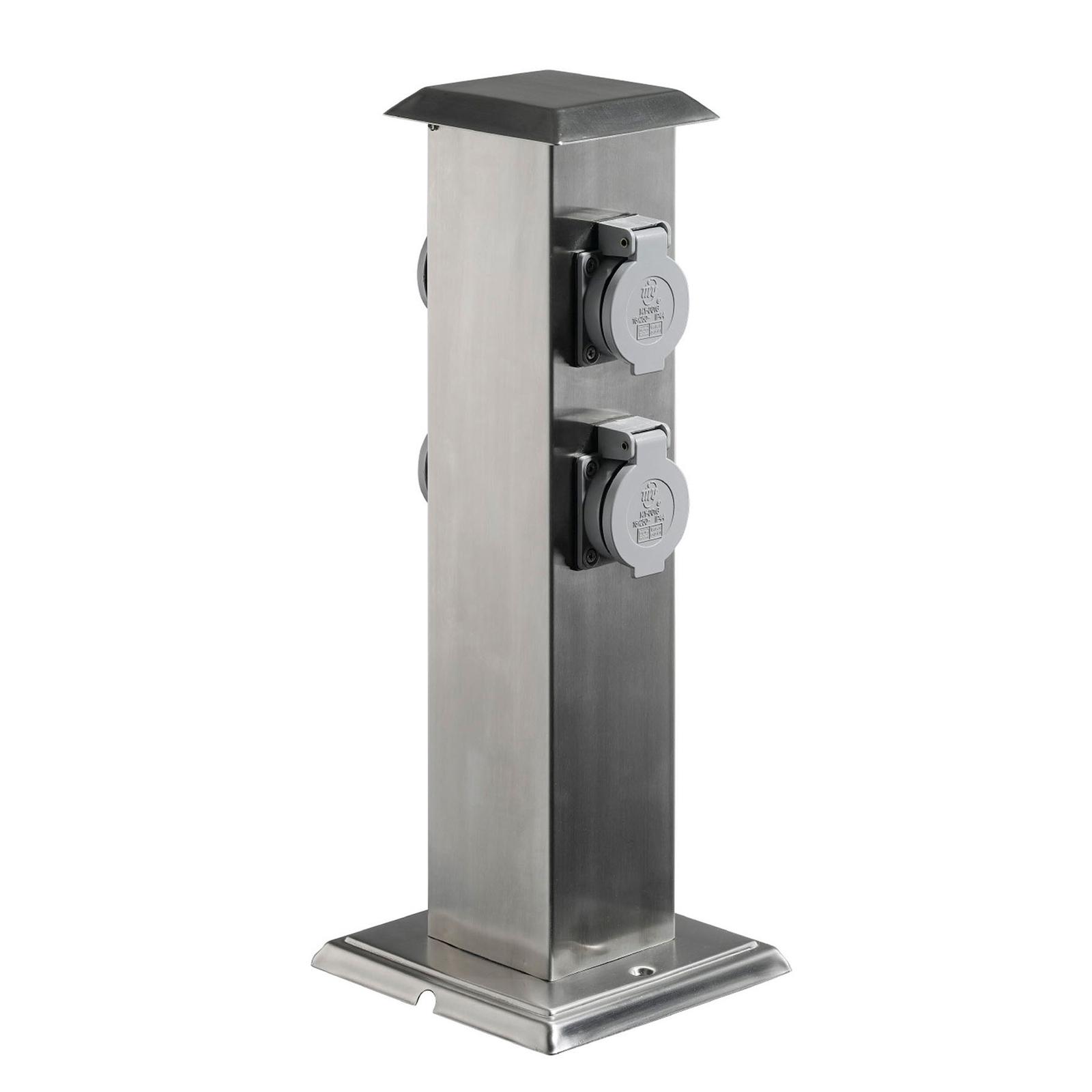 Energiezuil 400166 van RVS met 4 stopcontacten