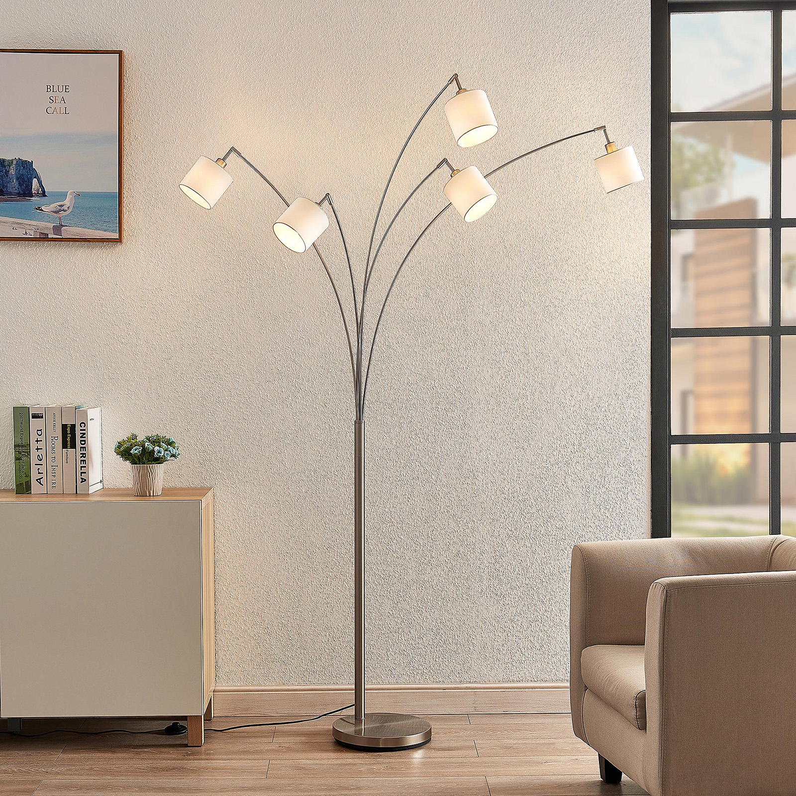 Lindby Stannis lampa łukowa, tekstylna, 5-punktowa