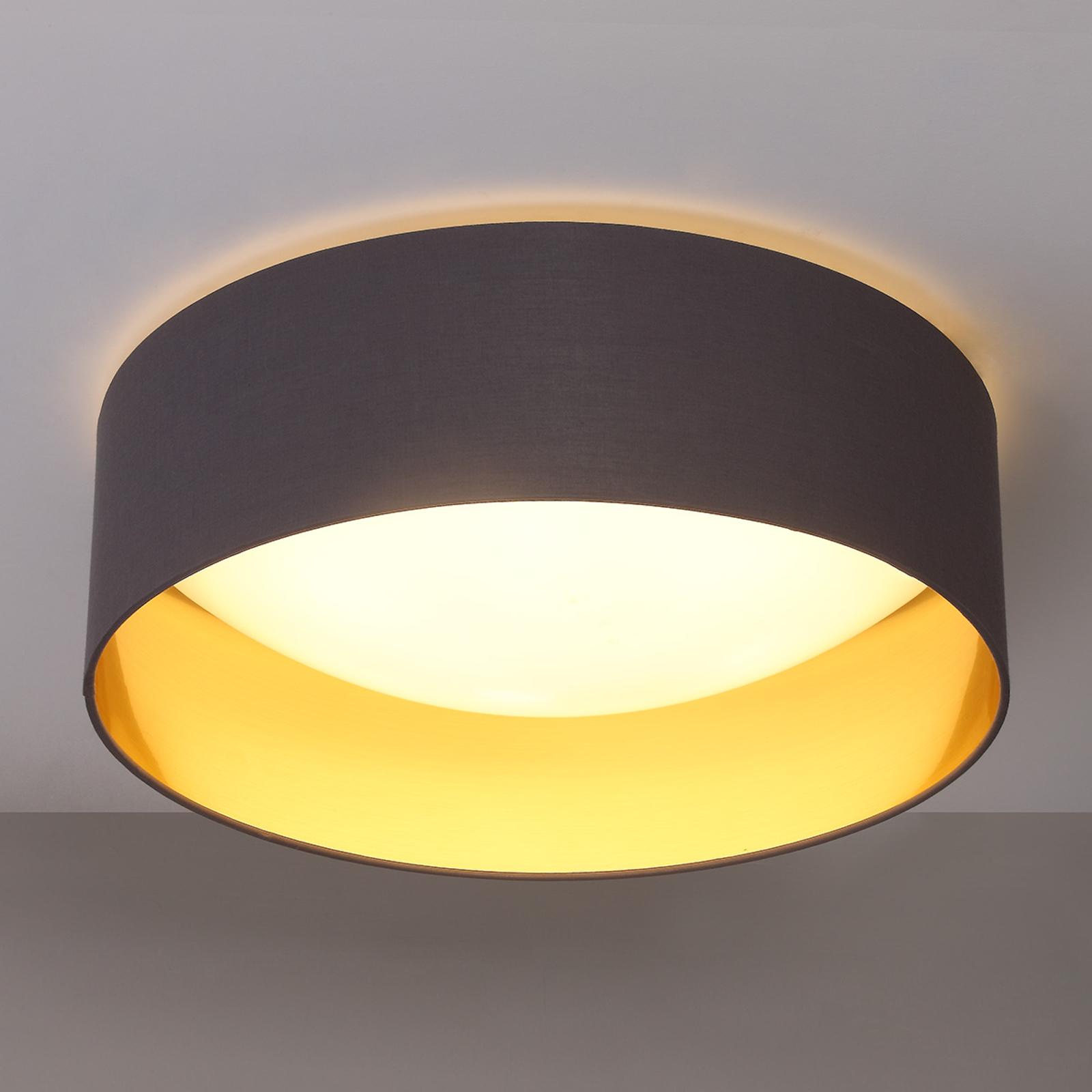 Plafón de telaColeen gris con interior dorado