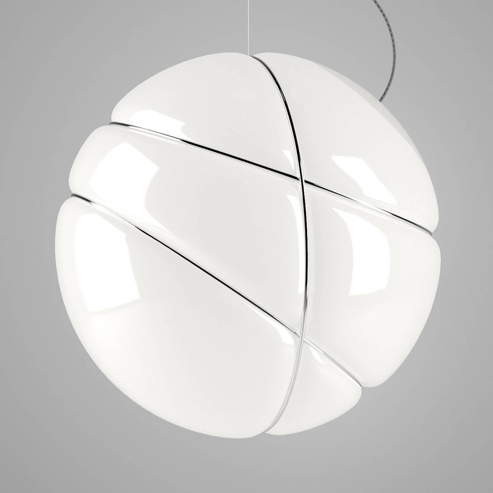 Fabbian Armilla szklana lampa wisząca biała, chrom