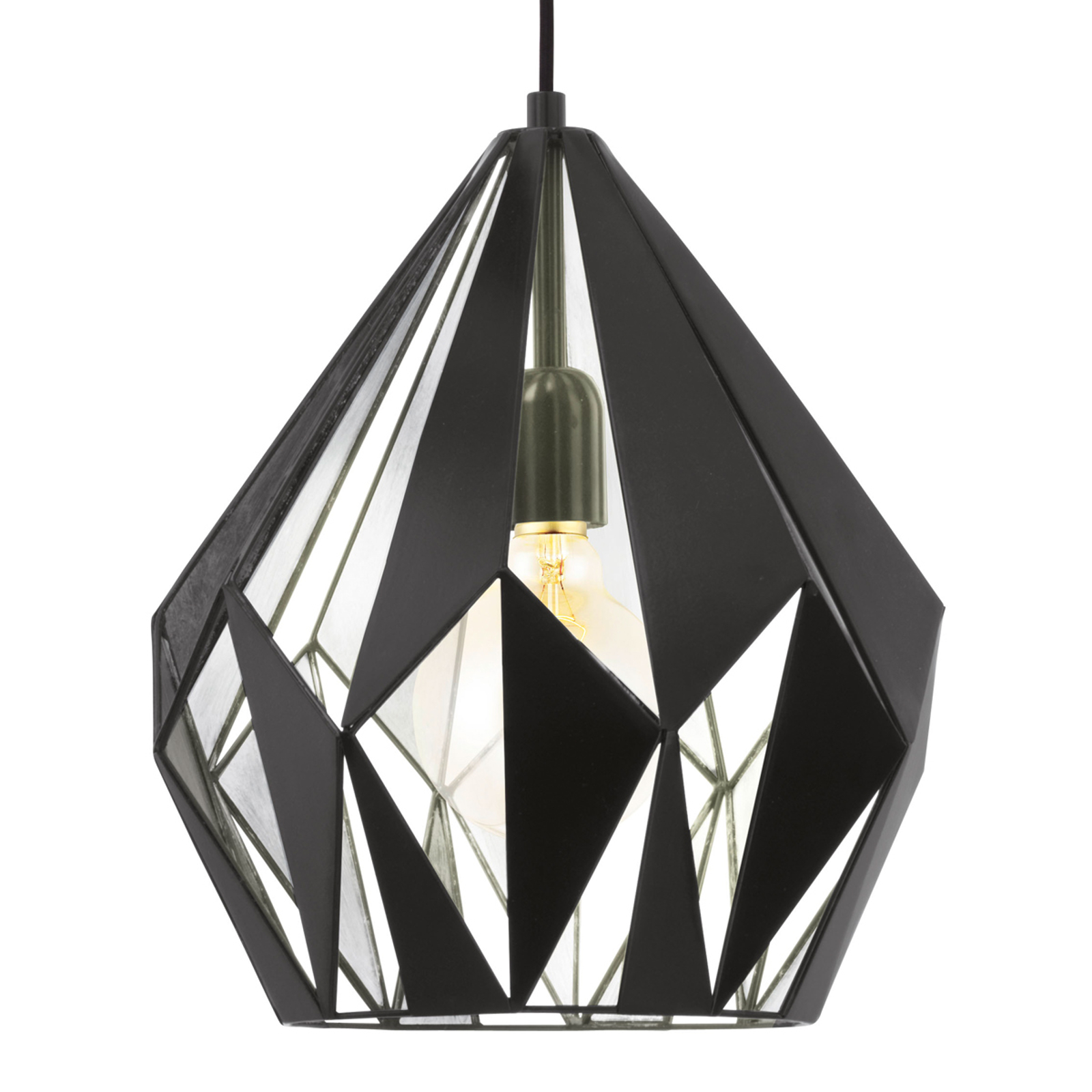 Czarno-srebrna lampa wisząca Carlton